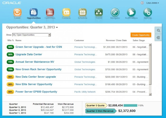 Fig 3: Oracle Fusion CRM Opportunities in Simplified UI