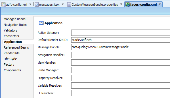 Fig 7: Configuration of message bundle in faces-config.xml